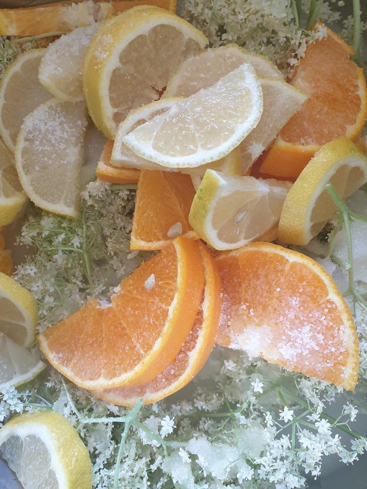 In Scheiben geschnittene Zitronen und Orangen sowie die Hollerblüten mischen.